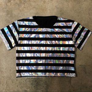 BlackMilk Holographic Stripe Crop Top